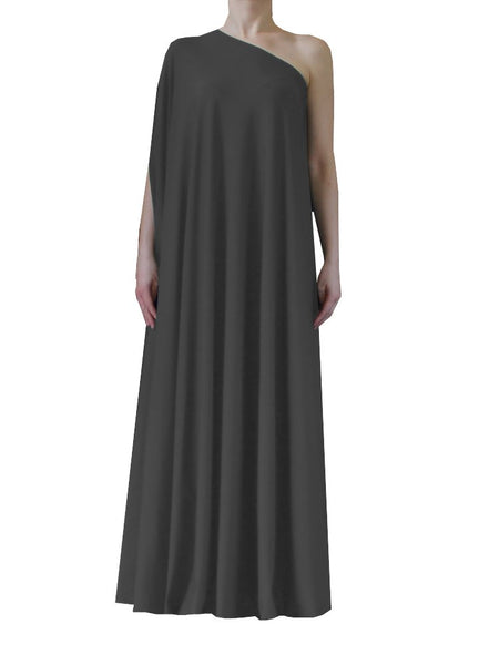 Grey one shoulder dress Long formal gown Sexy prom dress XS-5XL