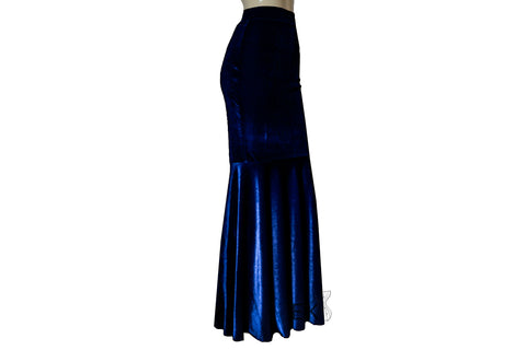 navy blue velvet skirt mermaid evening gown formal plus size outfit