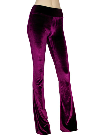 Burgundy Velvet Pants Wine Bell Bottoms Flare Pants High Waist Boho Pants Plus Size Rave Pants