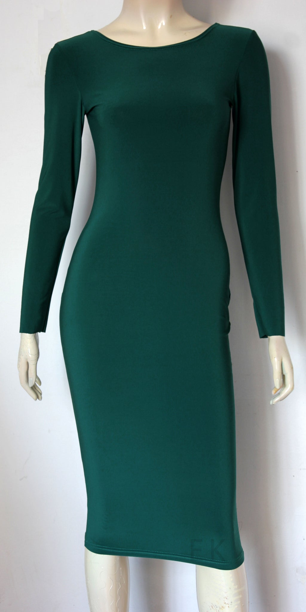 emerald green pencil dress long sleeve hobble dress