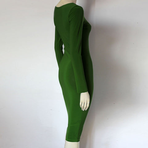 chartreuse green jersey bodycon plus size sexy dress basic dress with long sleeves