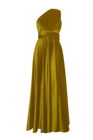Infinity velvet dress Bridesmaids multiway gown Mustard yellow wrap dress Plus size prom gown Maternity dress