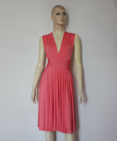 multiway coral dress short bridesmaids gown backyard wedding infinity dress