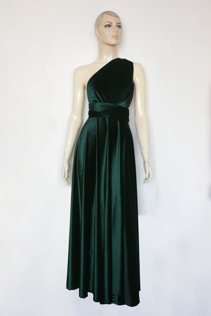 39fada3a25412 Green Velvet Dress Bridesmaids Infinity Gown Plus Size Prom Gown Formal  Maternity Dress Maxi Evening Gown ...