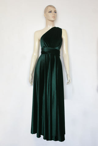 Green Velvet Dress Bridesmaids Infinity Gown Plus Size Prom Gown Formal Maternity Dress Maxi Evening Gown
