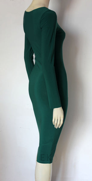 dark green wiggle dress plus size bodycon basic jersey dress