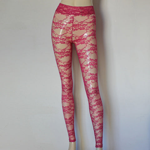 Lace Leggings Hot Pink Sheer Tights High Rise Pants Plus Size Leggings See Through Ballet Wear Yoga Floral Leggings