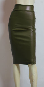 khaki pencil skirt vegan leather skirt minimalist wiggle skirt