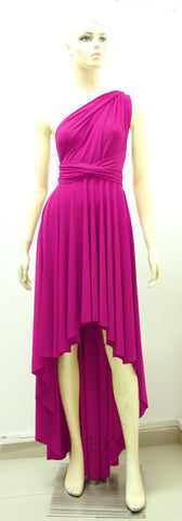 hot pink infinity dress high low bridesmaids gown beach wedding outfit