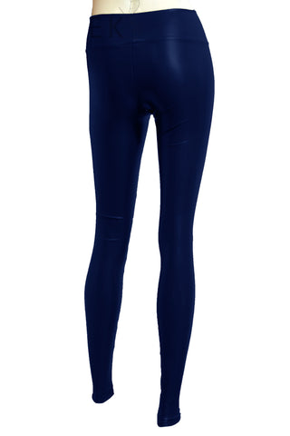 Vegan leather leggings Navy blue tights Plus size slim pants Stretchy leggings Sexy casual outfit