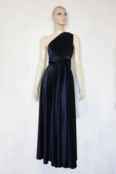 Convertible velvet dress Bridesmaids infinity gown Navy blue dress Plus size prom gown Formal maternity dress