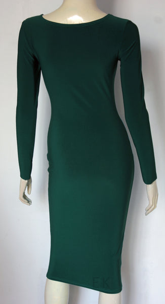 bottle green pencil dress scoop neckline midi dress simple cocktail dress
