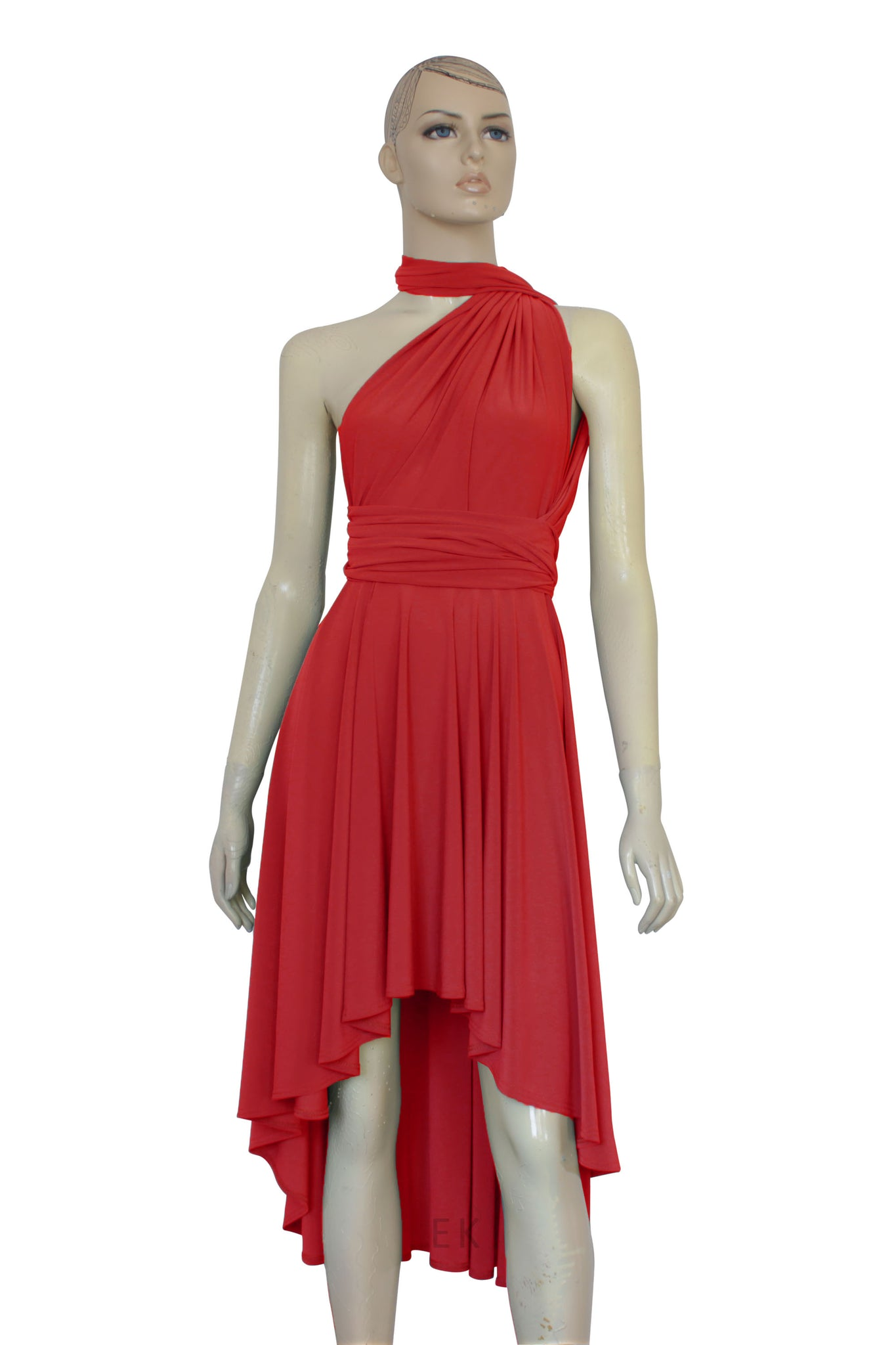 red infinity dress prom high low gown plus size wrap dress