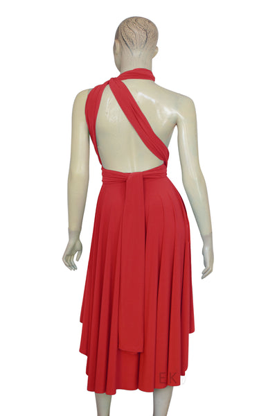 bridesmaids dress red cocktail gown convertible multiway dress