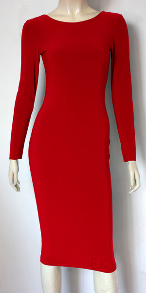 red fitted dress below the knee cocktail dress scoop neckline office dress