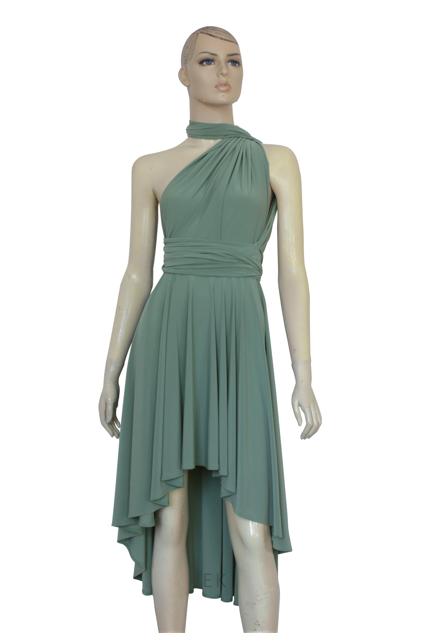 Sage Green Bridesmaid Dress High Low Infinity Gown Prom Convertible ...