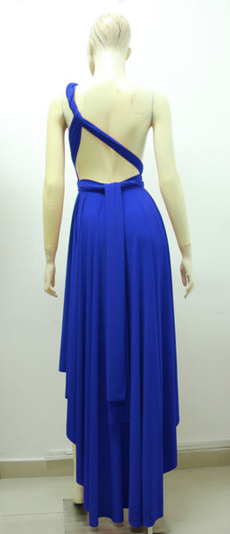 sapphire blue dress multiway bridesmaids dress high low formal gown