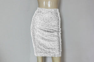 sequin skirt hobble plus size skirt silver wedding separates minimalist metallic skirt