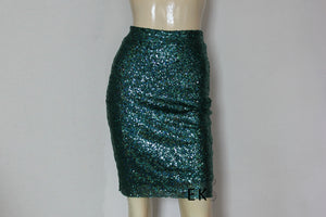 dark green sequin skirt short hobble skirt plus size prom skirt