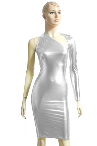 Silver Dress One Shoulder Bodycon Backless Pencil dress Metallic Long Sleeve Tube Dress Shiny Party Dress