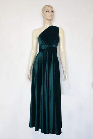 Velvet dress Teal dress Infinity bridesmaids dress Plus size gown Formal maternity dress Evening gown
