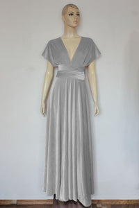 Multi way velvet dress Bridesmaids infinity gown Light gray convertible dress Plus size prom gown Maternity dress