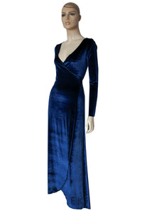 Navy Blue Velvet Dress Wrap Bridesmaid Gown Long Sleeve Prom Dress Plus Size Evening Gown