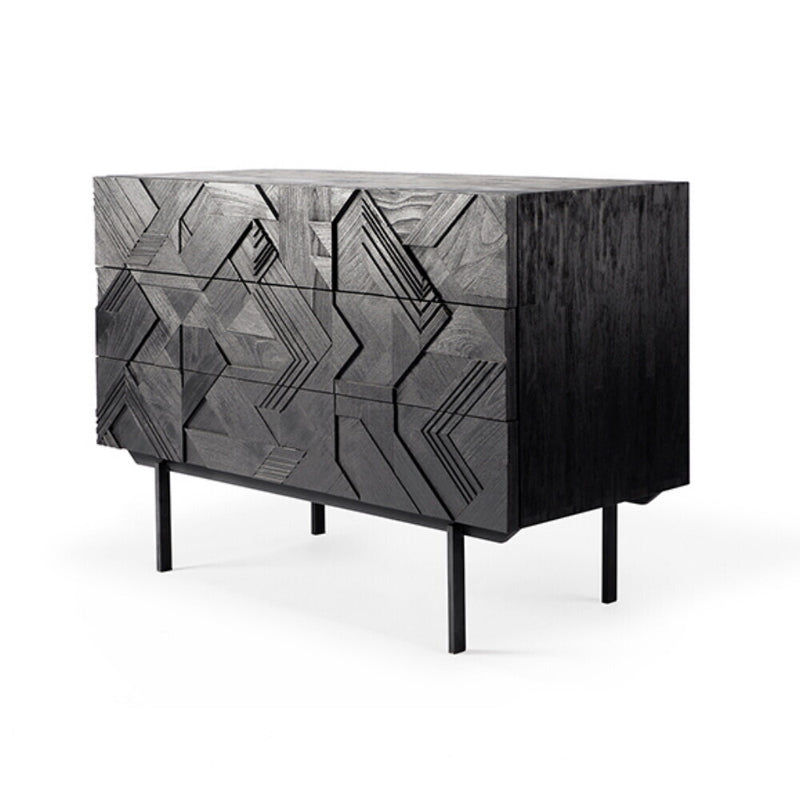 Teak Graphic Black Chest Of Drawers