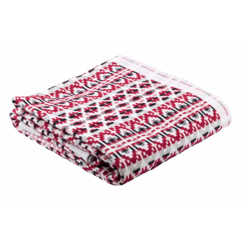 Dalarna Pattern Swedish Cotton Blanket Ojbro Vantfabrik