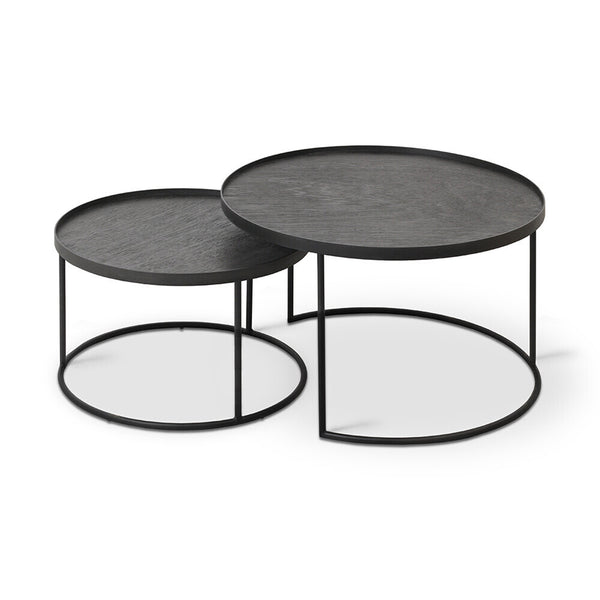 Ethnicraft Nesting Round Tray Table Set