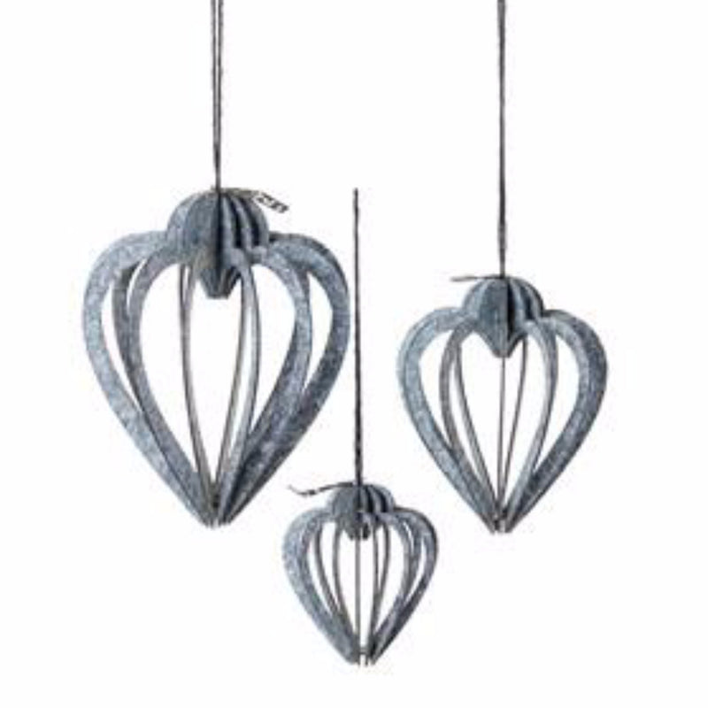 Set of 3 Heart Shaped Silhouette Ornaments