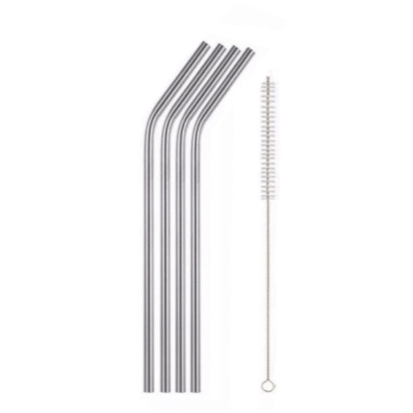 Reusable Stainless Steel Straws - Set of 4 with cleaning brush