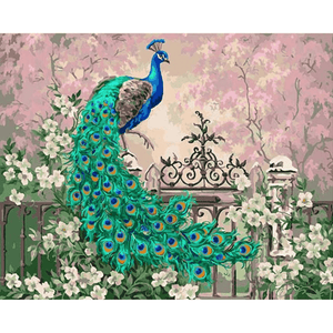 Peacock & Flowers - Paint By Numbers Kit For Adults - Easy Paint By Numbers - DIY Flowers