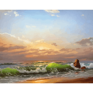 Sunset Ocean - Paint By Numbers Kit For Adults - Easy Paint By Numbers - DIY Ocean