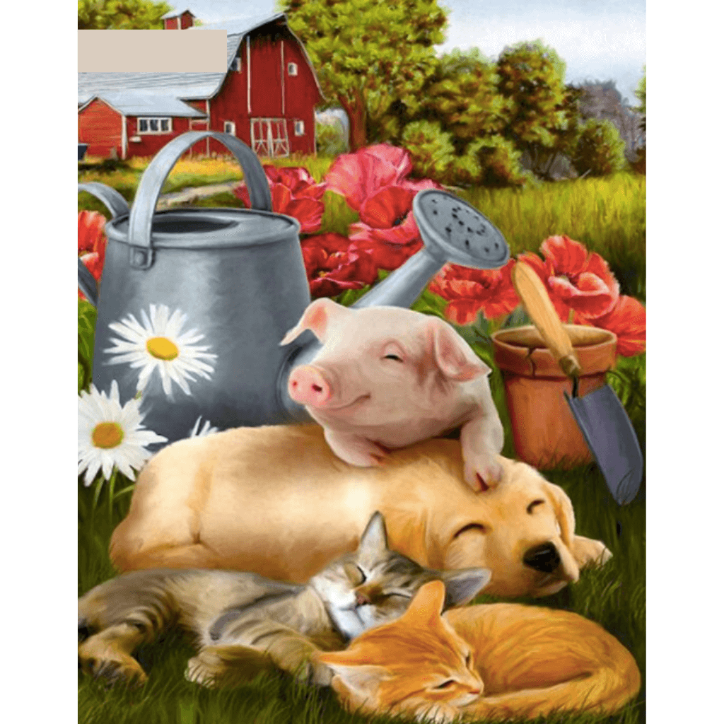 Pig And Dog- Paint By Numbers Kit For Adults - Easy Paint By Number Kits for adults- DIY Animals