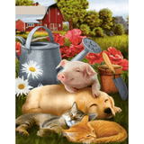 Pig And Dog- Paint By Numbers Kit For Adults - Easy Paint By Numbers - DIY Animals