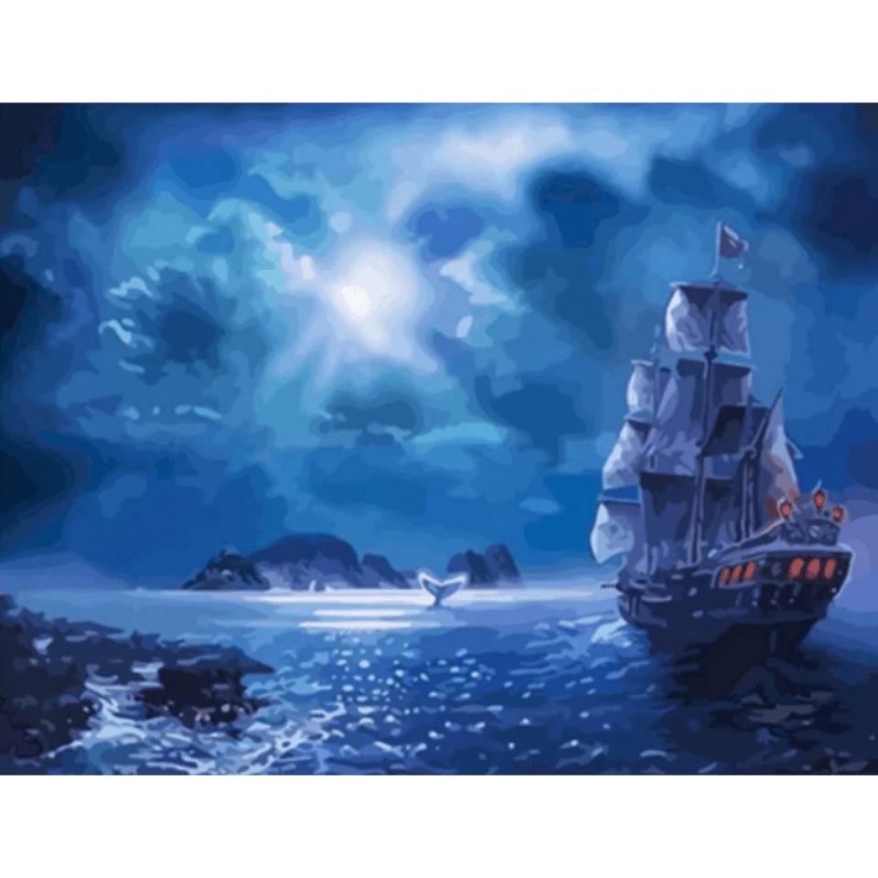 Ocean At Night - Paint By Numbers Kit For Adults - Easy Paint By Number Kits for adults- DIY Ocean