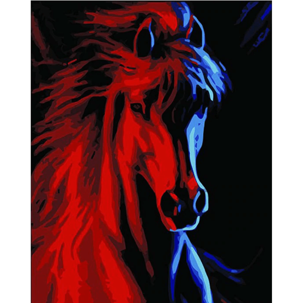 Red Horse - Paint By Numbers Kit For Adults - Easy Paint By Numbers - DIY Animals
