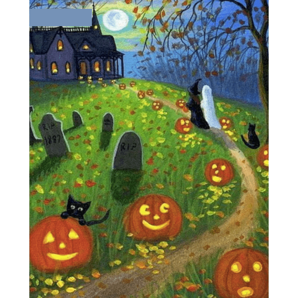 Evil Pumpkin Lantern Road - Paint By Numbers Kit For Adults - Easy Paint By Number Kits for adults- DIY Land