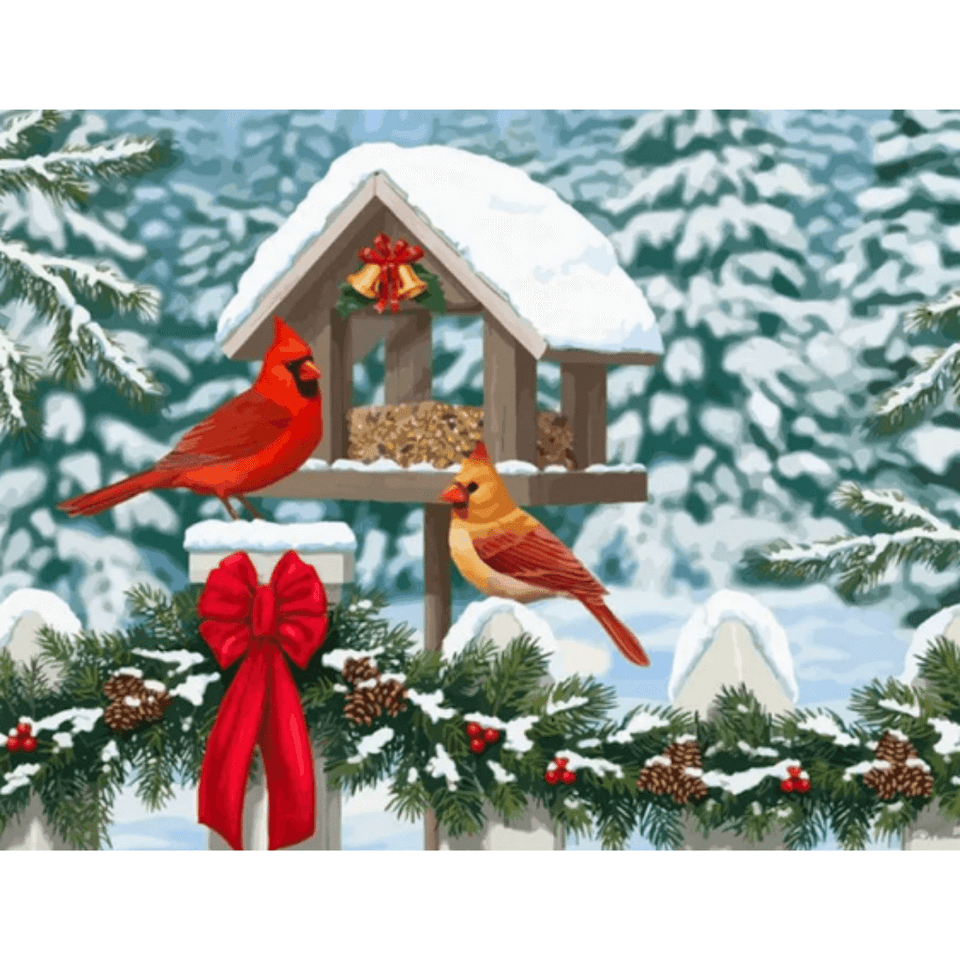 Christmas Birds - Paint By Numbers Kit For Adults - Easy Paint By Numbers - DIY Love