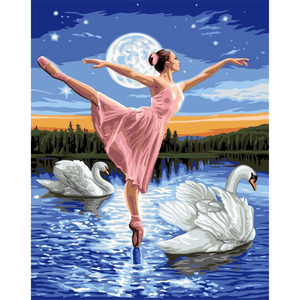 Swan Ballet - Paint By Numbers Kit For Adults - Easy Paint By Numbers - DIY Love