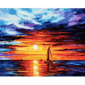 Ocean Sunset - Paint By Numbers Kit For Adults - Easy Paint By Numbers - DIY Ocean