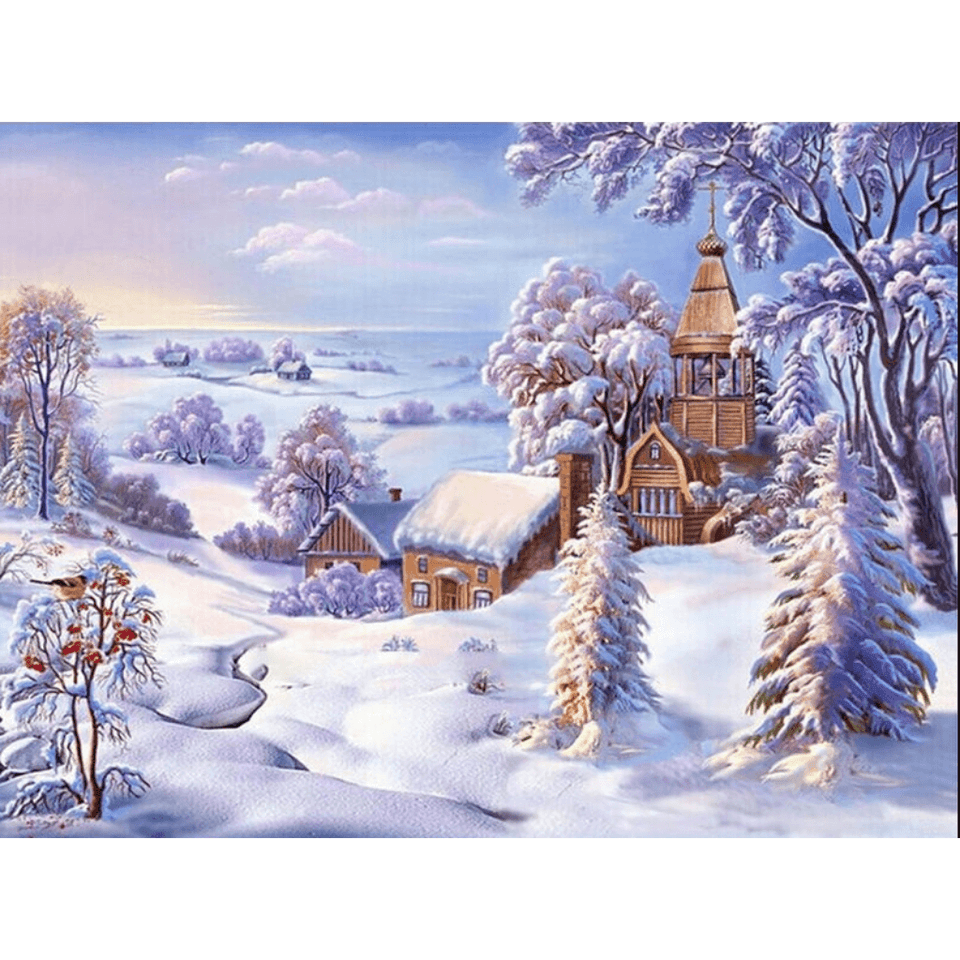 Snow World - Paint By Numbers Kit For Adults - Easy Paint By Numbers - DIY Snow