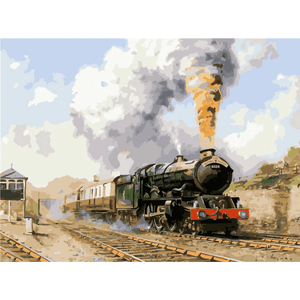 Vintage Train Landscape - Paint By Numbers Kit For Adults - Easy Paint By Numbers - DIY Miss