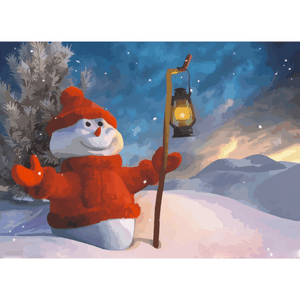Snowman - Paint By Numbers Kit For Adults - Easy Paint By Numbers - DIY Snow
