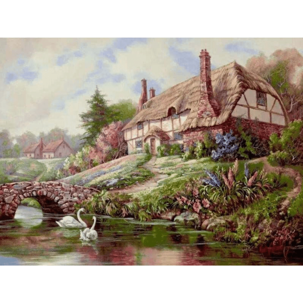 Swan Lake n House - Paint By Numbers Kit For Adults - Easy Paint By Numbers - DIY Land