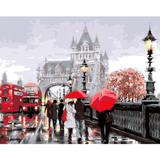 Walk In Rain City - Paint By Numbers Kit For Adults - Easy Paint By Numbers - DIY City
