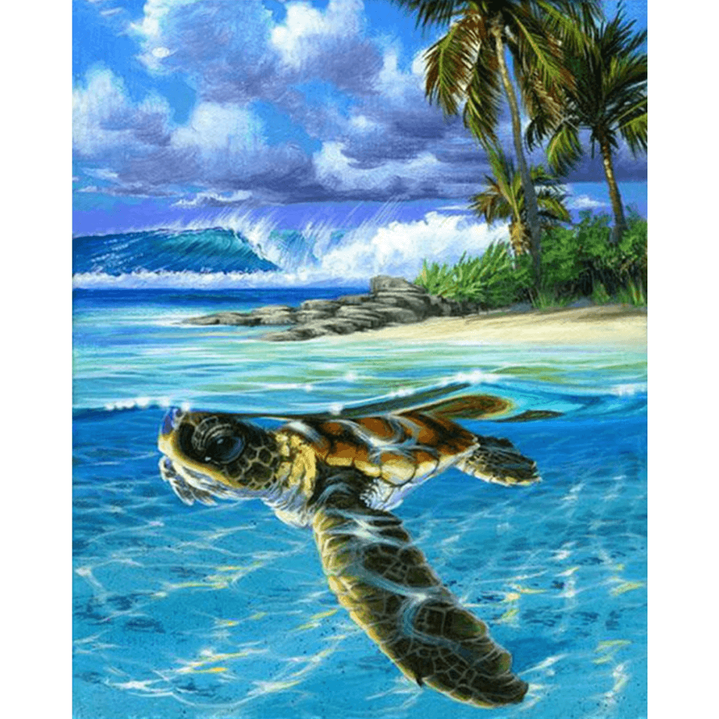 Sea Turtle - Paint By Numbers Kit For Adults - Easy Paint By Numbers - DIY Ocean
