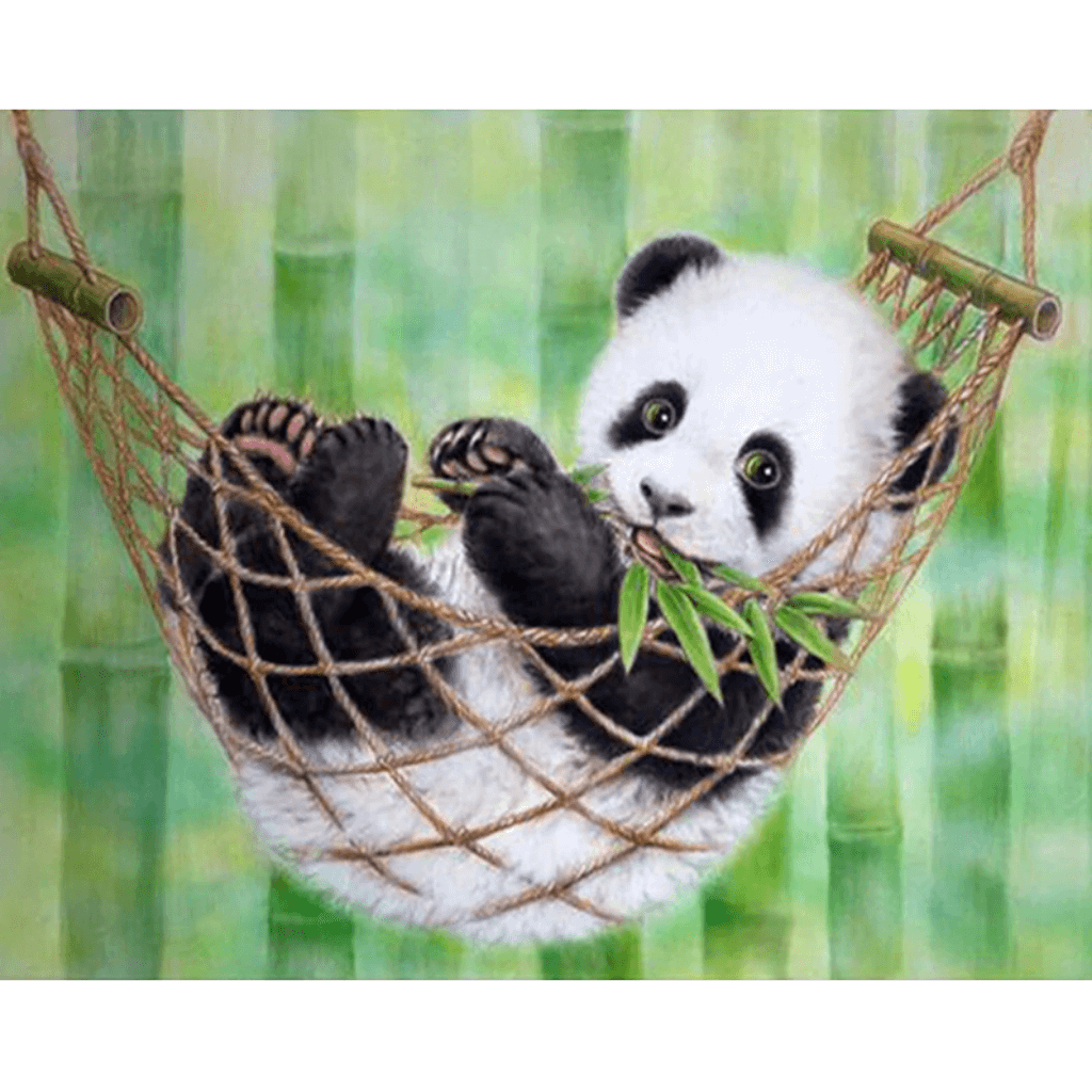 Swing Panda - Paint By Numbers Kit For Adults - Easy Paint By Numbers - DIY Animals