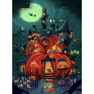 Halloween House Night - Paint By Numbers Kit For Adults - Easy Paint By Numbers - DIY Land
